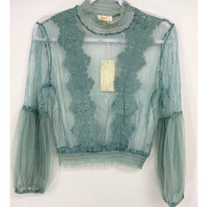 Peach Teal Embroidered Lace Blouse - NEW - Small
